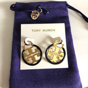Tory Burch Miller Small Hoop Earrings Black
